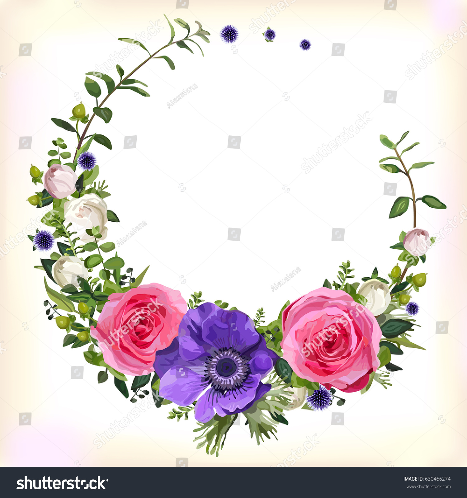 Vector round frame with pink flowers on white background in pastel - Flower Circle Round Wreath Coronet Flowers Pink Rose Purple Anemone Poppy Leaves Beautiful Lovely Spring Summer