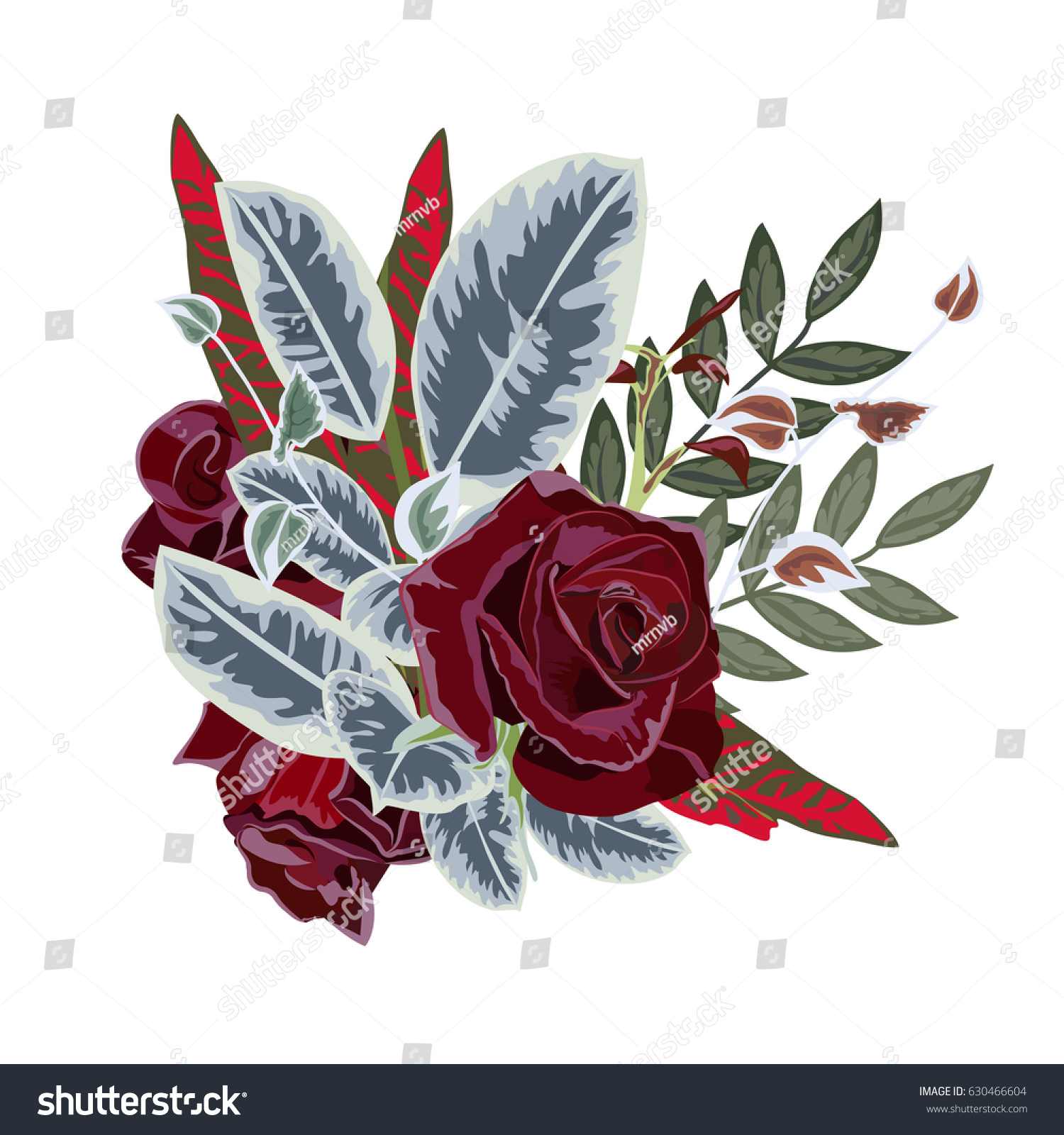 Bouquet Burgundy Roses Exotic Leaves Decor Stock Vector (Royalty ...