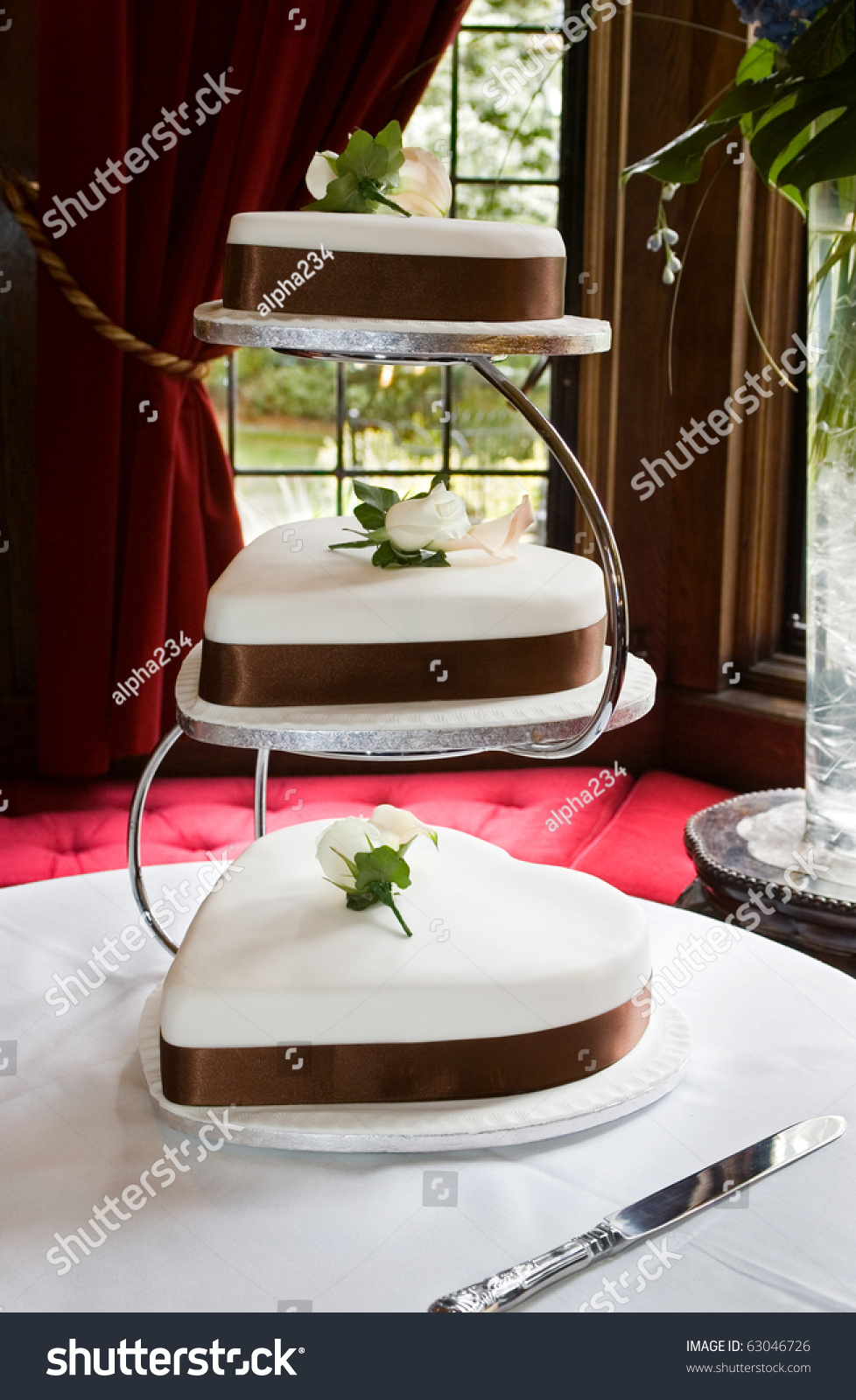 heart shaped wedding cake stand shaped wedding cake s with brown sash and chrome 15167