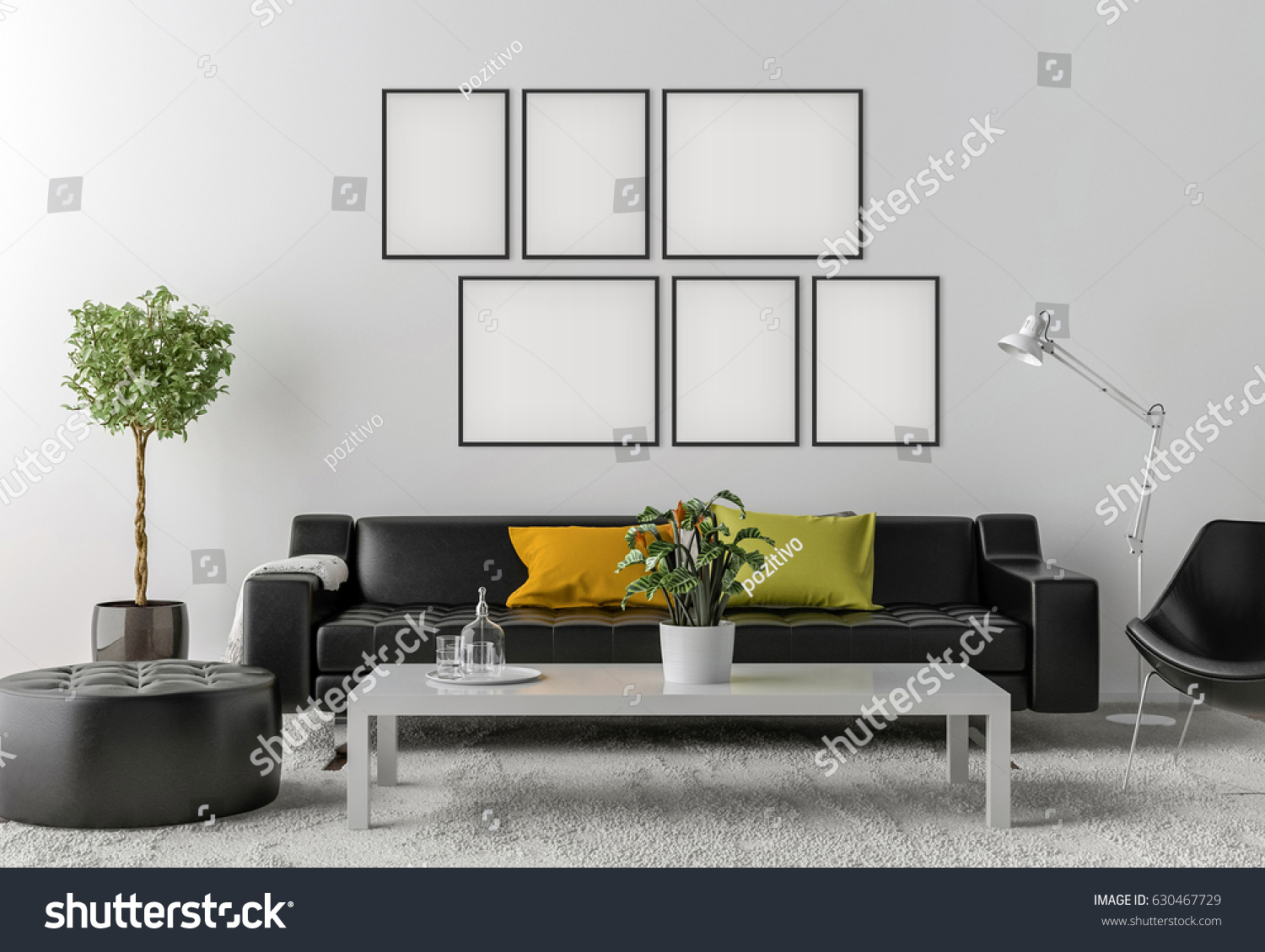 Picture frame interior set empty room stock illustration 630467729 picture frame interior set in empty room with sofa lamp and table 3d render geotapseo Gallery