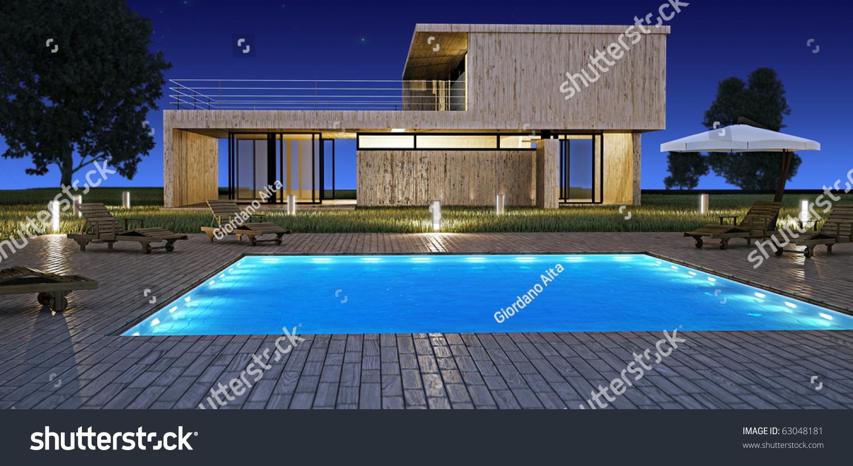 Modern House Swimming Pool Night Vision Stock Illustration ... - ^