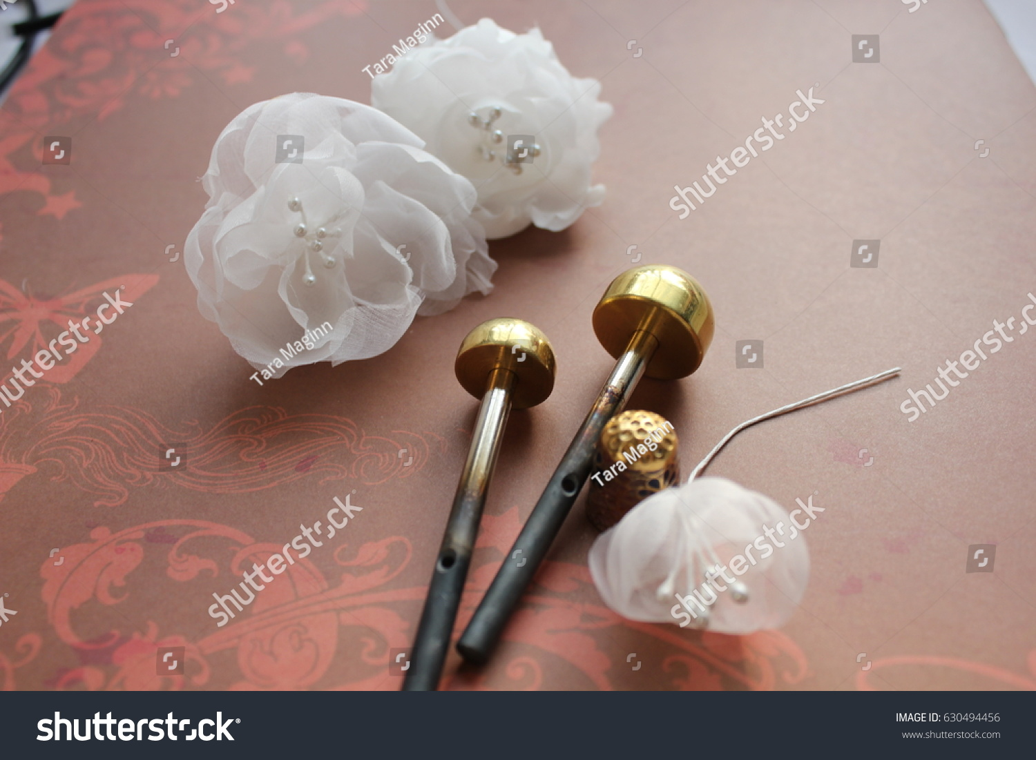 Millinery Hat Making Tools Silk Flowers Stock Photo Royalty Free