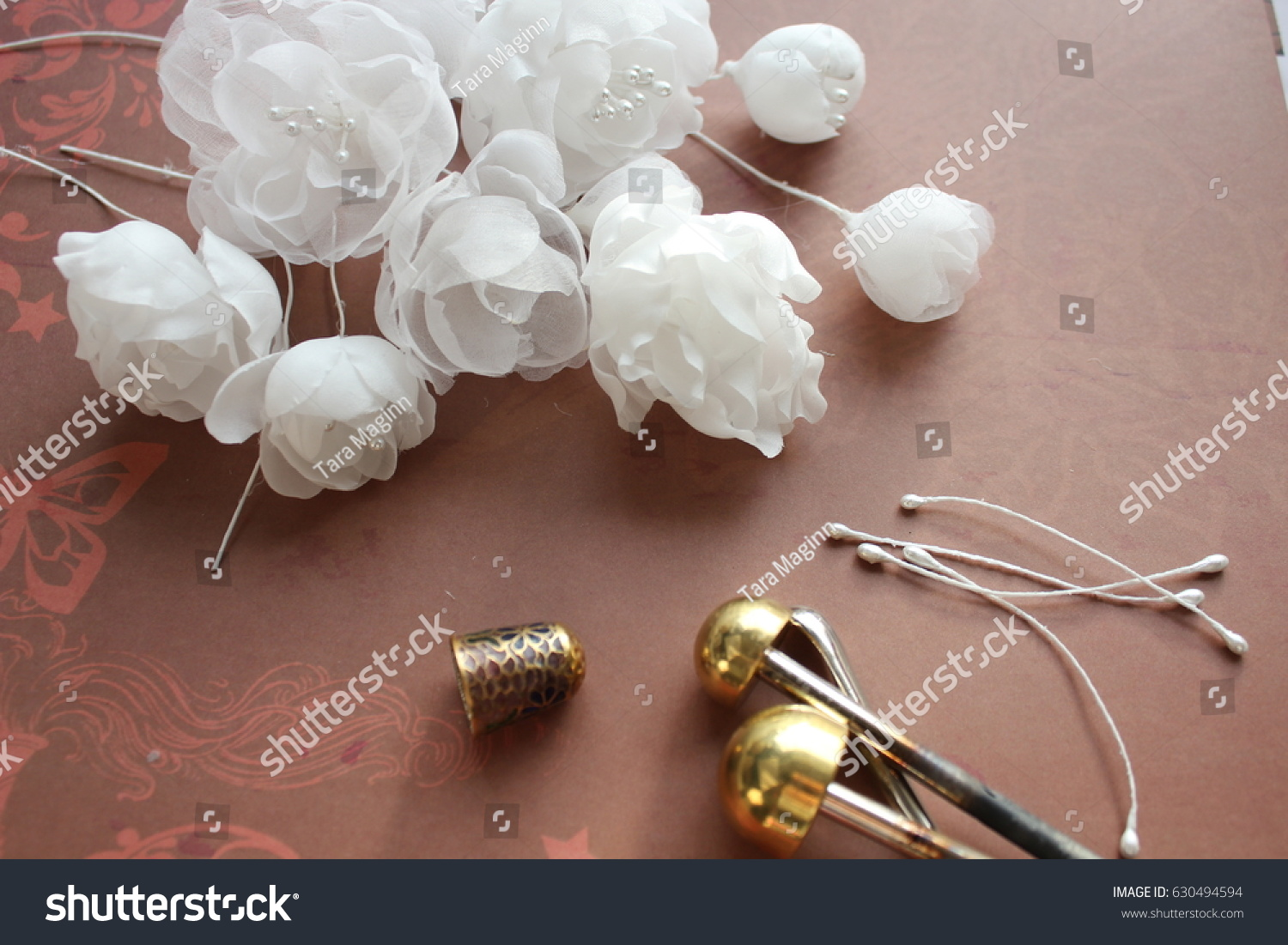Millinery Hat Making Tools Silk Flowers Stock Photo Download Now