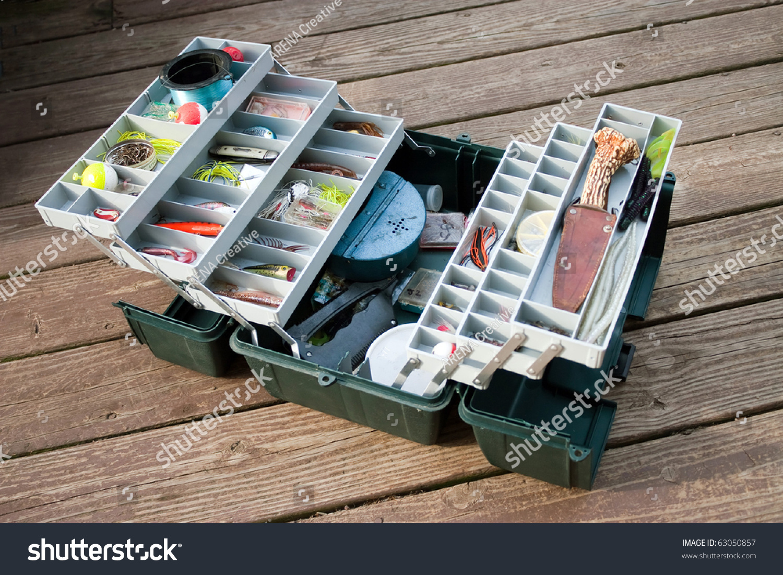 large fishermans tackle box fully stocked stock photo 63050857, Fishing Reels