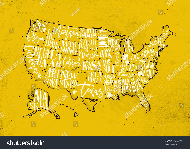 Vintage Usa Map States Inscription California Stock Illustration ...