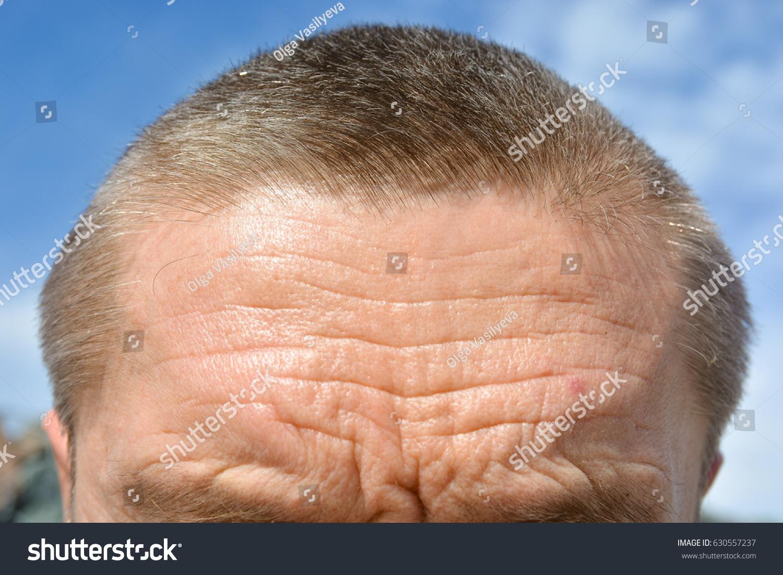 Mens Forehead Wrinkles Gray Eyebrows Hair Stock Photo Edit Now