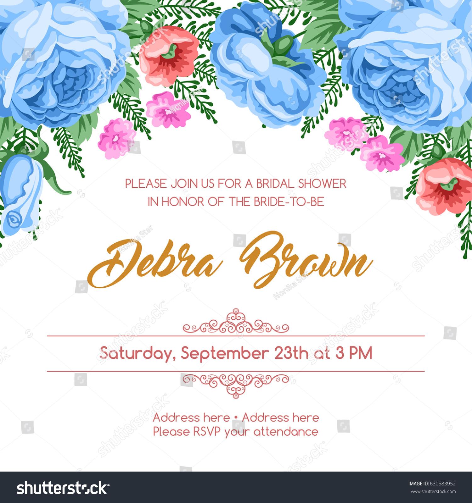 Bridal Shower Invitation Template Flowers Vector Stock Vector ...