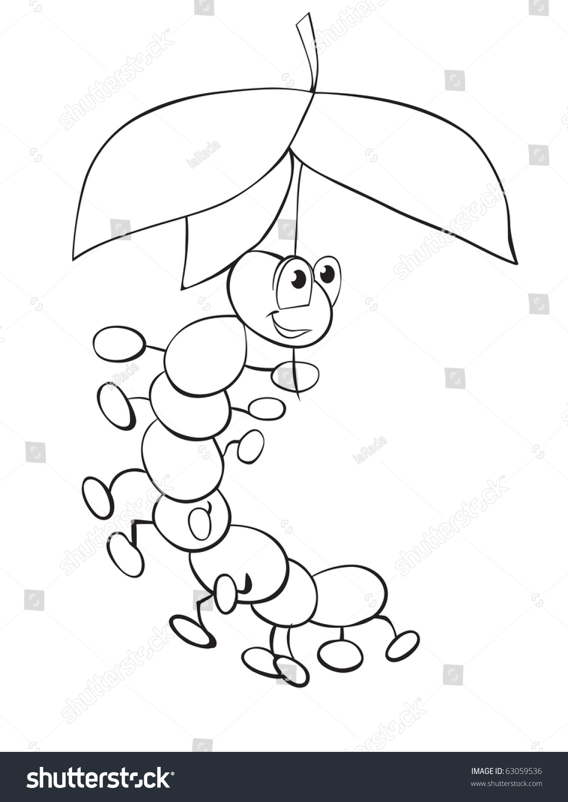 caterpillar under umbrella leaves outline drawing stock