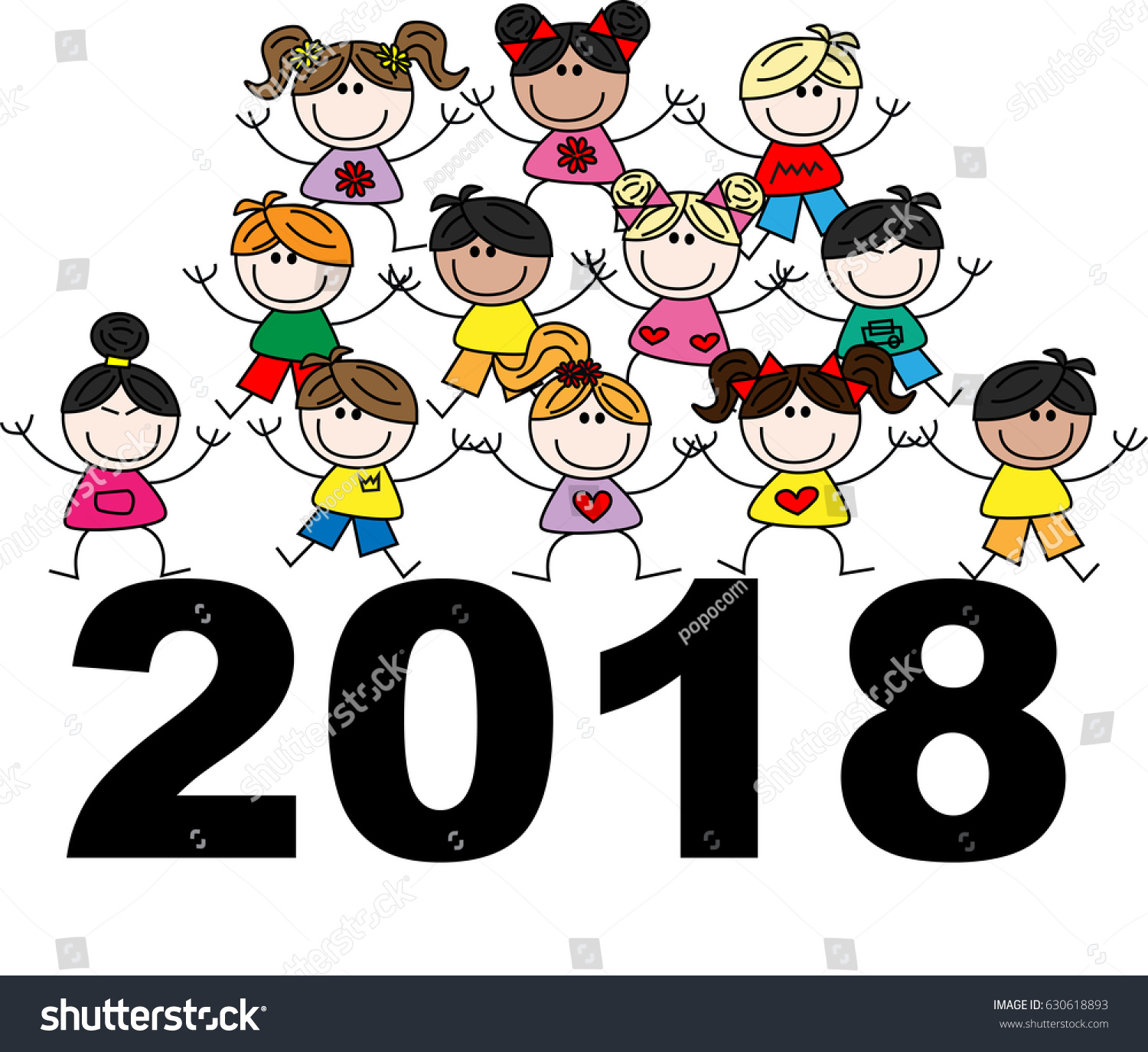 royalty free stock illustration of happy new year 2018 mixed ethnic rh shutterstock com free religious happy new year clip art free religious happy new year clip art