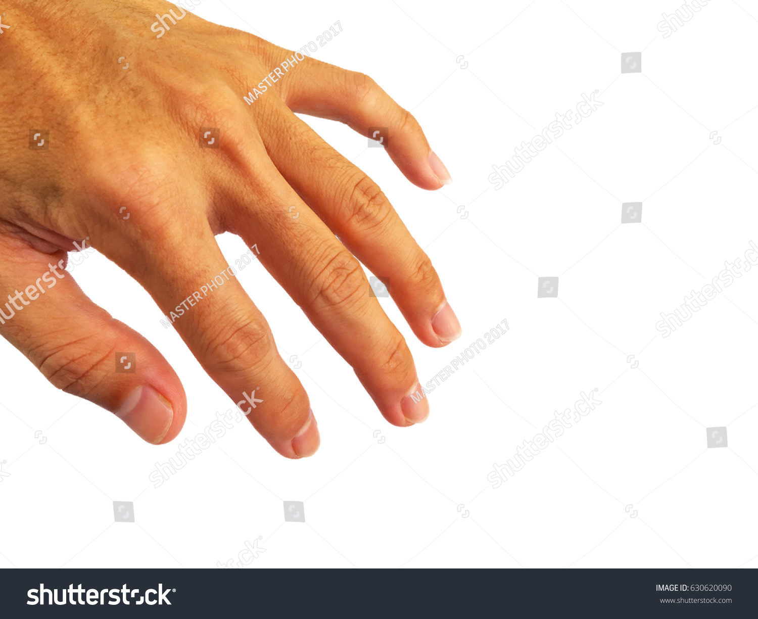 Healthy nails,finger and hand of asian man.