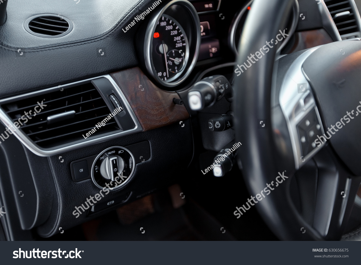 Car Dashboard With Focus On Engine Start Stop Button Modern Car