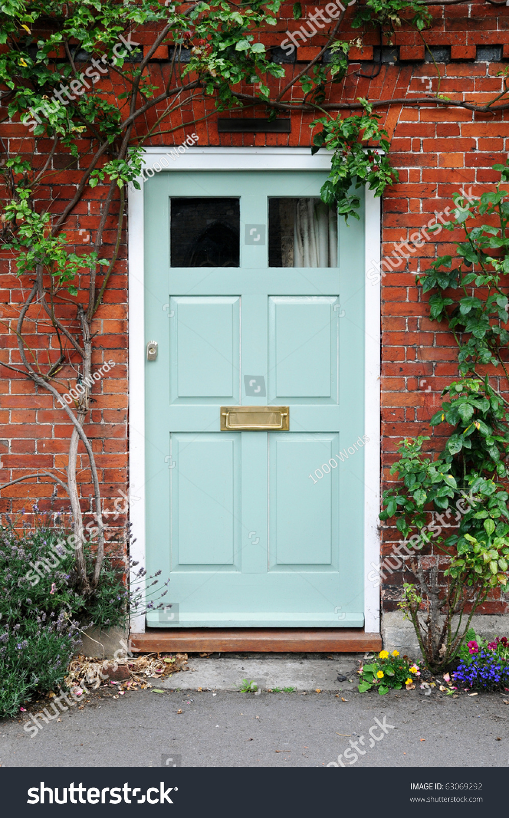 Red front door on brick house - Front Door Of A Beautiful Red Brick House
