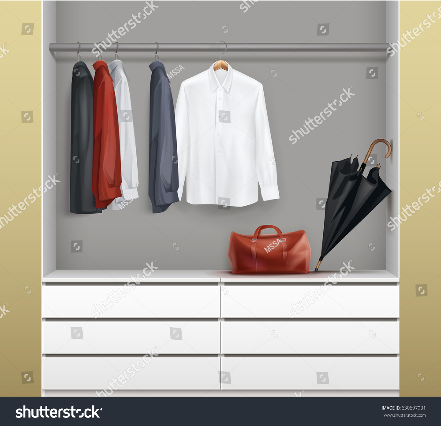 Vector Open White Wardrobe Drawers Red Stock Vector 630697901 ... for Wardrobe Front View  146hul