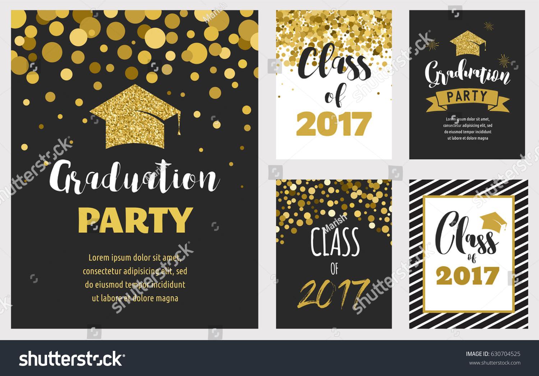 Graduation Class 2017 Party Invitations Posters Stock Vector HD ...