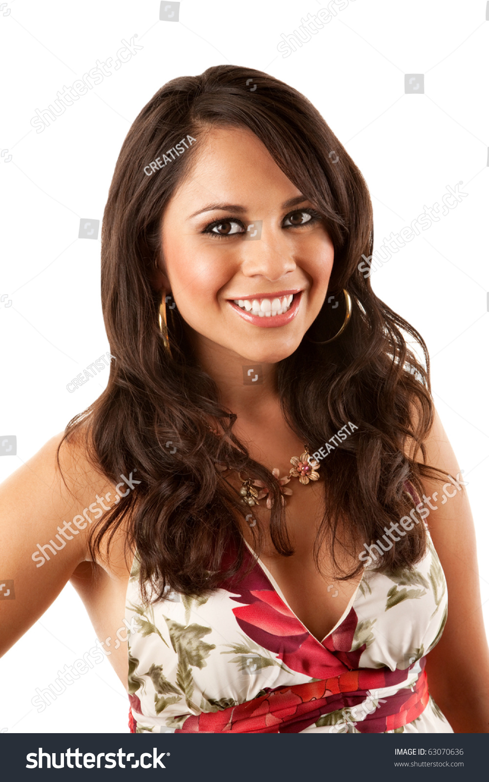 Pretty Hispanic Woman Flowery Dress On Stock Photo