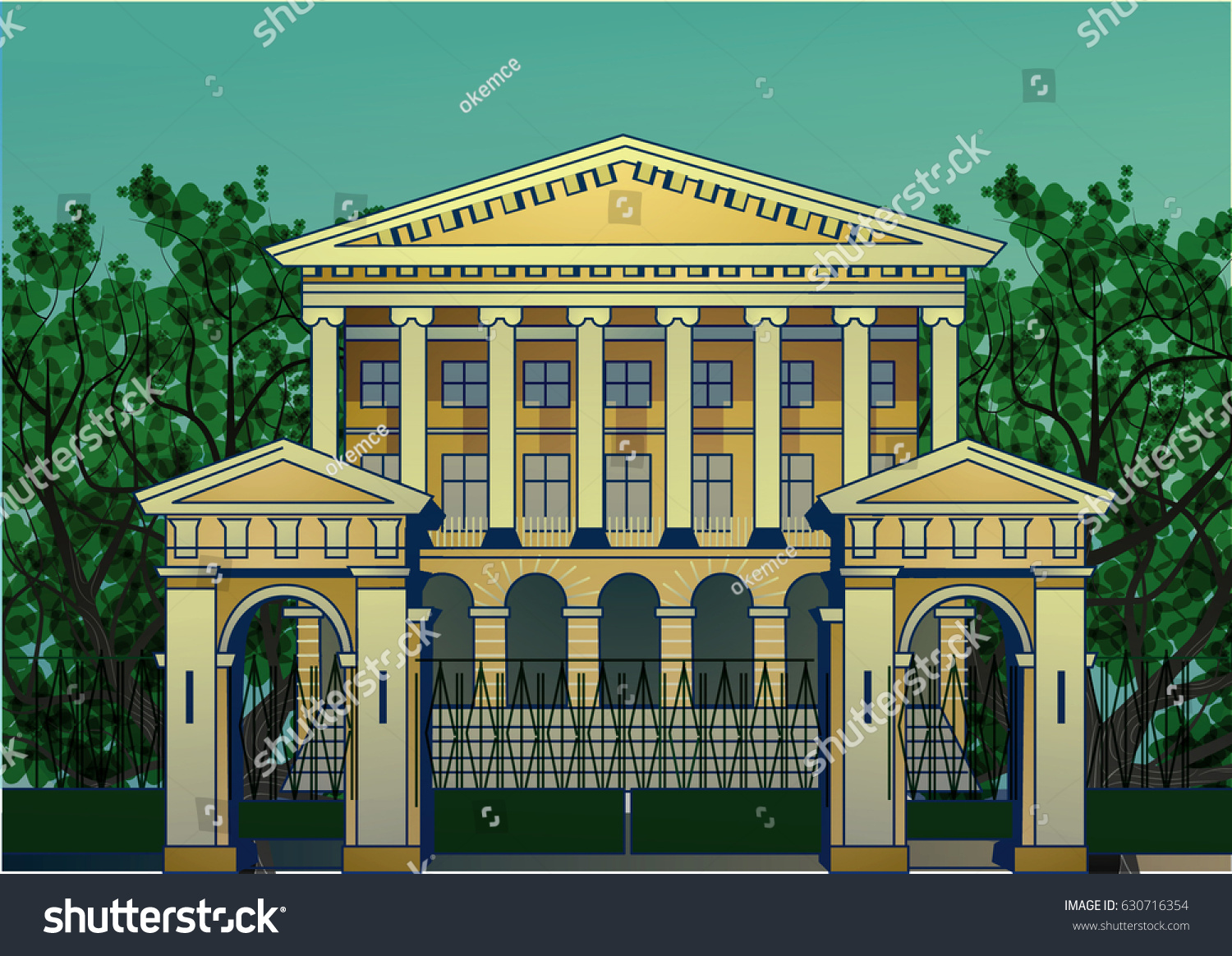 Modern palace with colonnade. Vector illustration