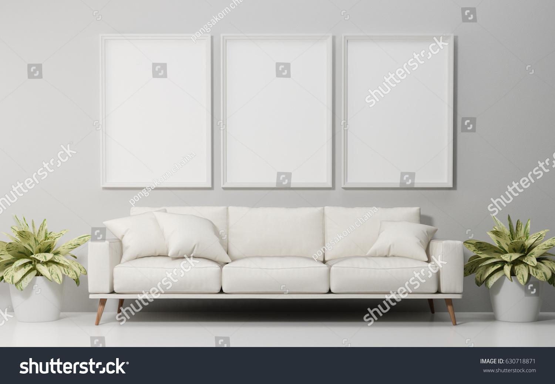 Mock Poster White Sofa Living Room Stock Illustration 630718871 ...