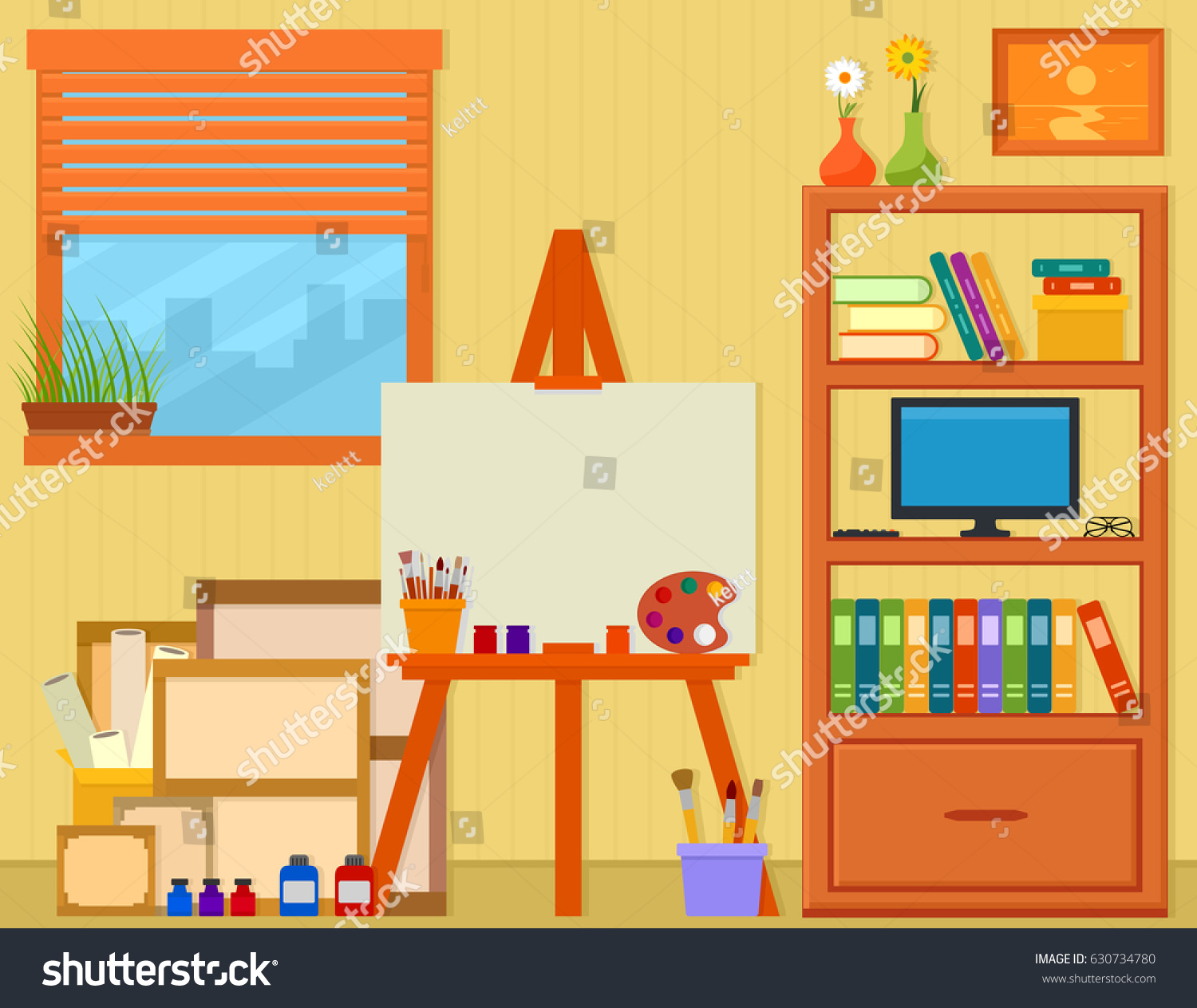 Home Art Studio Easel Painting Tools Stock Vector (2018) 630734780 ...