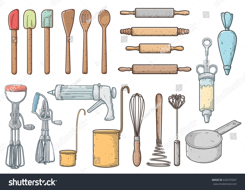 Kitchen tools drawing - Kitchen Tools Illustration Drawing Halftone Retro Cartoon Vector
