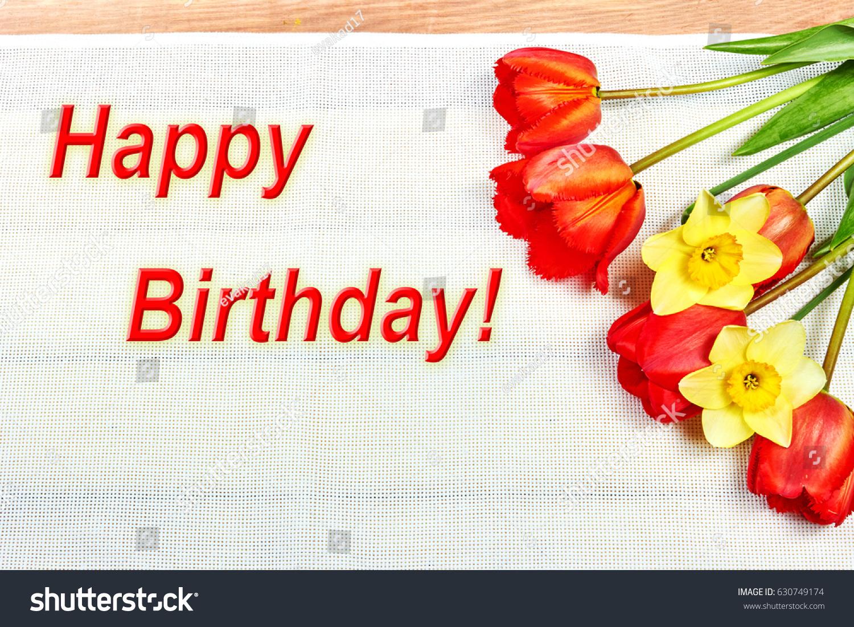 Greeting card happy birthday flowers stock photo royalty free greeting card happy birthday with flowers izmirmasajfo Choice Image