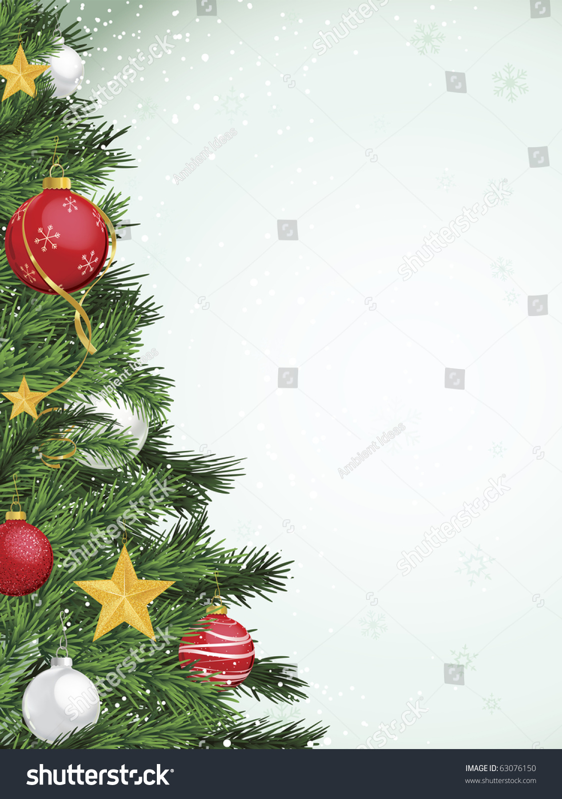 Christmas tree border design yellow gold stock vector for Red and yellow christmas tree