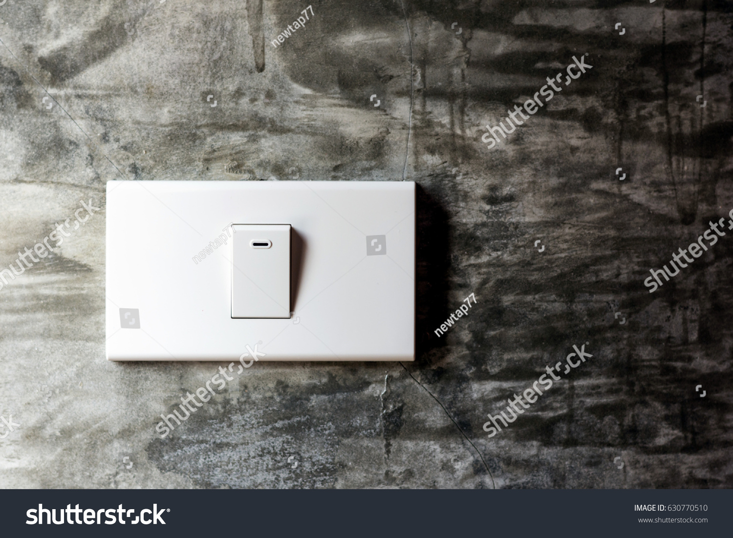 Lighting Switch On The Concrete Wall Without Painting