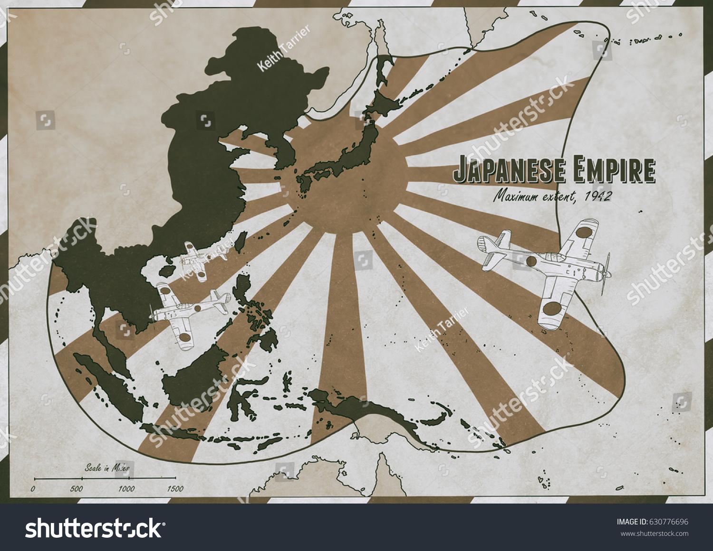 Hand Drawn Map Japanese Empire Largest Stock Illustration - Vintage aviation maps