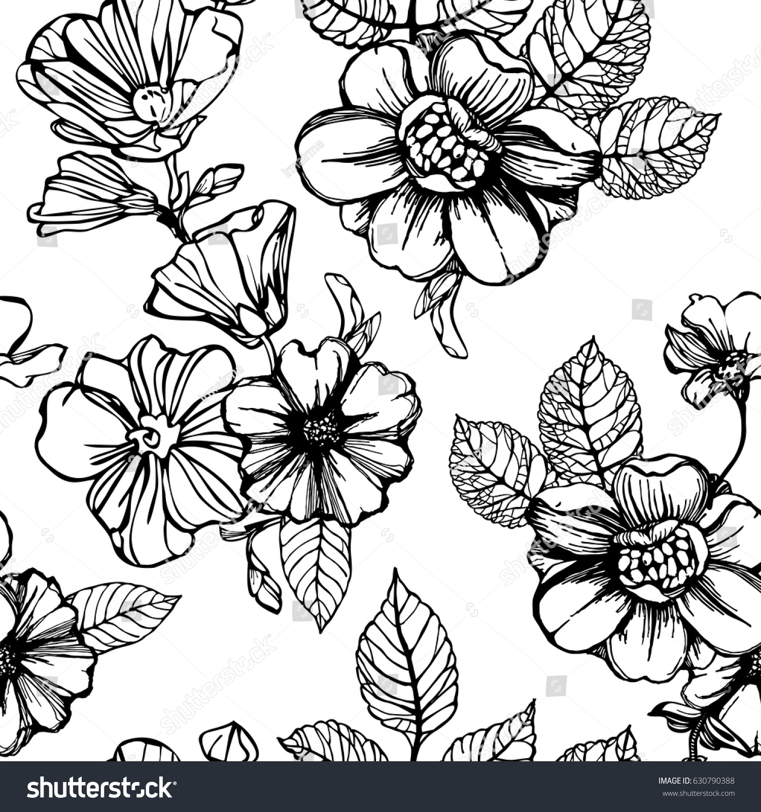 Black White Flowers Seamless Pattern Stock Vector Royalty Free