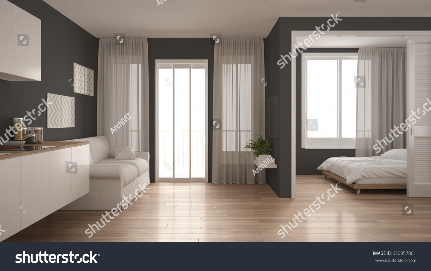 Small Apartment Kitchen Living Room Bedroom Stock Illustration ...