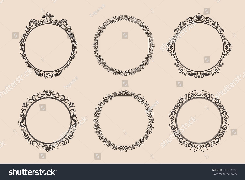 Decorative round vintage frames borders set stock vector 630883934 decorative round vintage frames and borders set victorian and baroque style design elegant royal sciox Choice Image