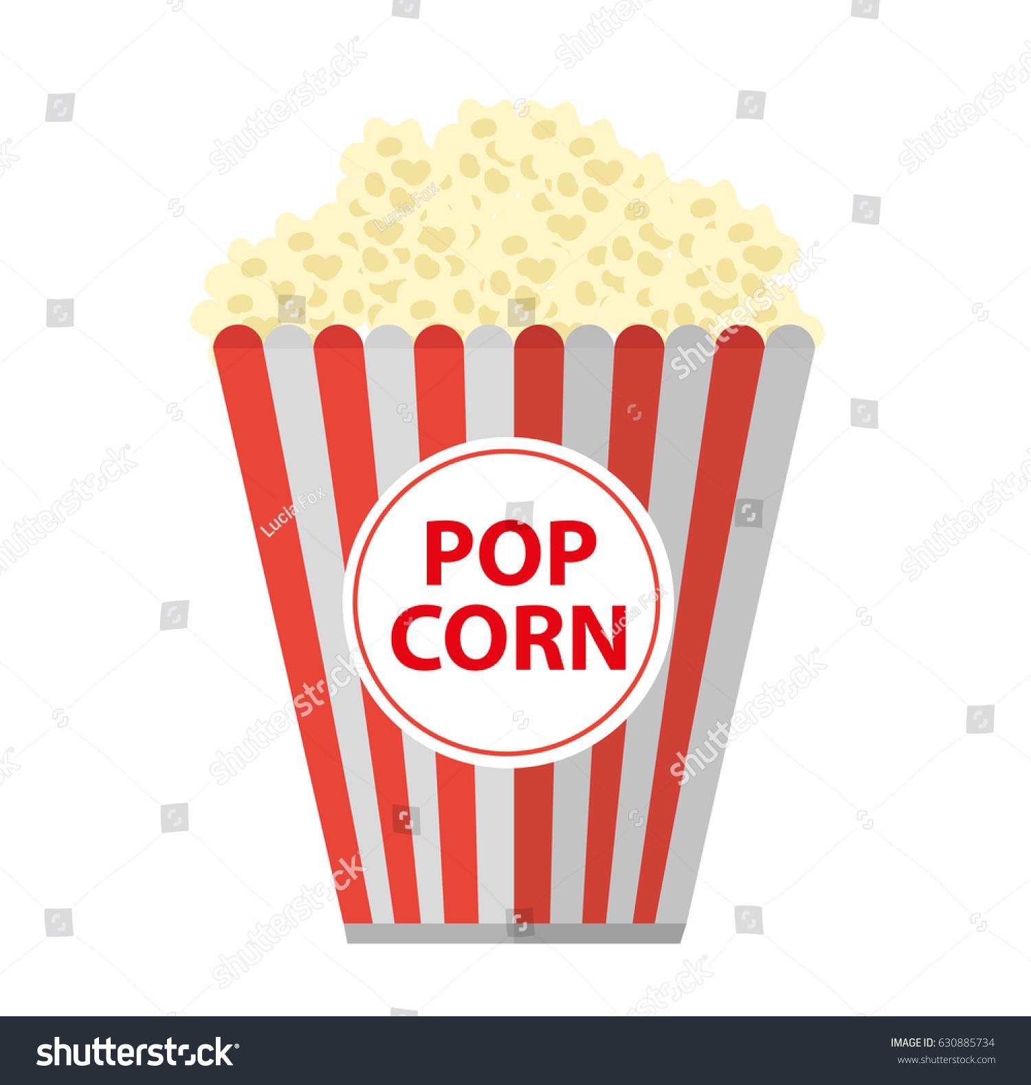 Popcorn Icon Flat Cartoon Style Isolated Stock Vector ...