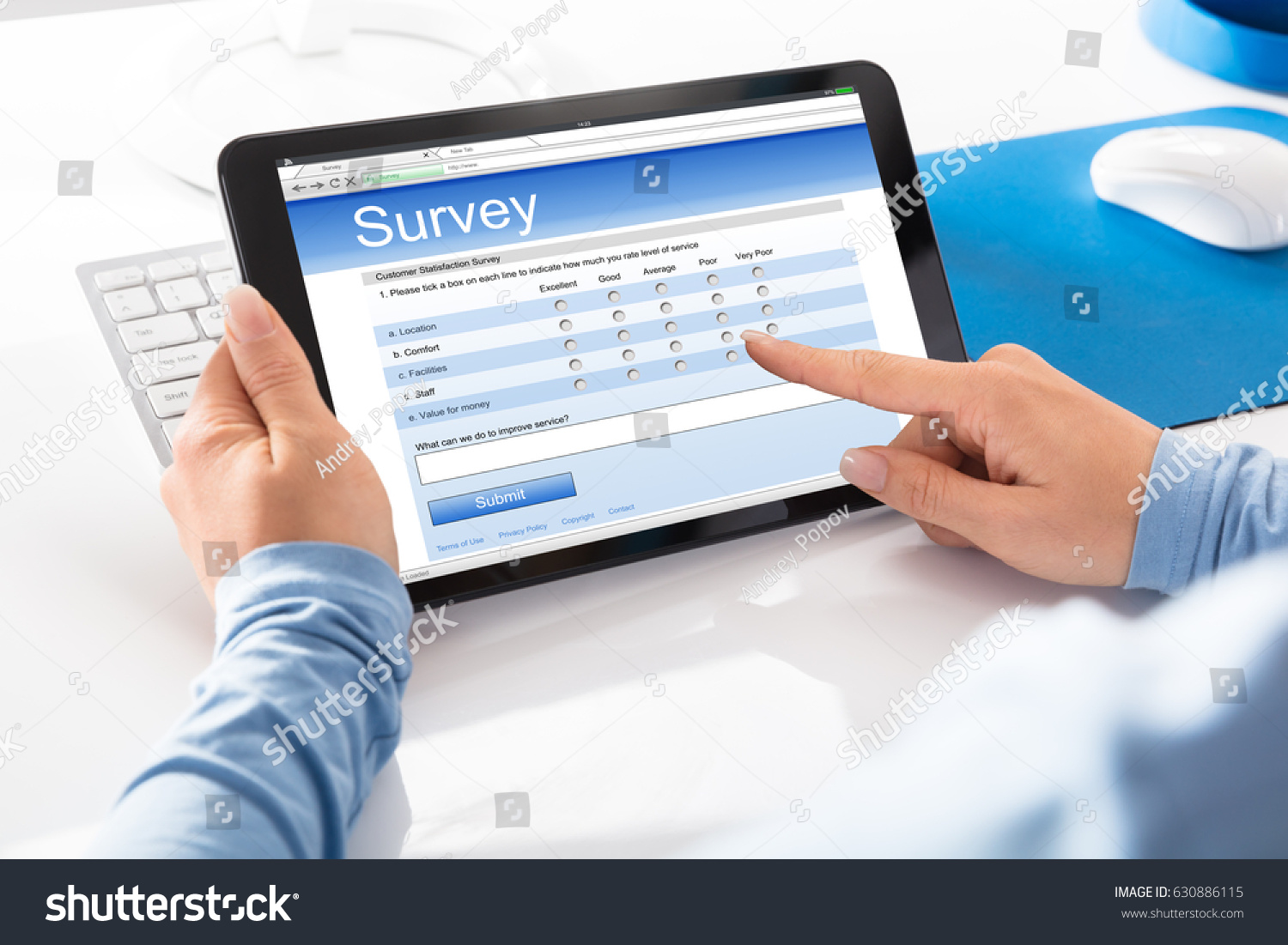 Close-up Of A Woman Filling Online Survey Form On Digital Tablet #630886115