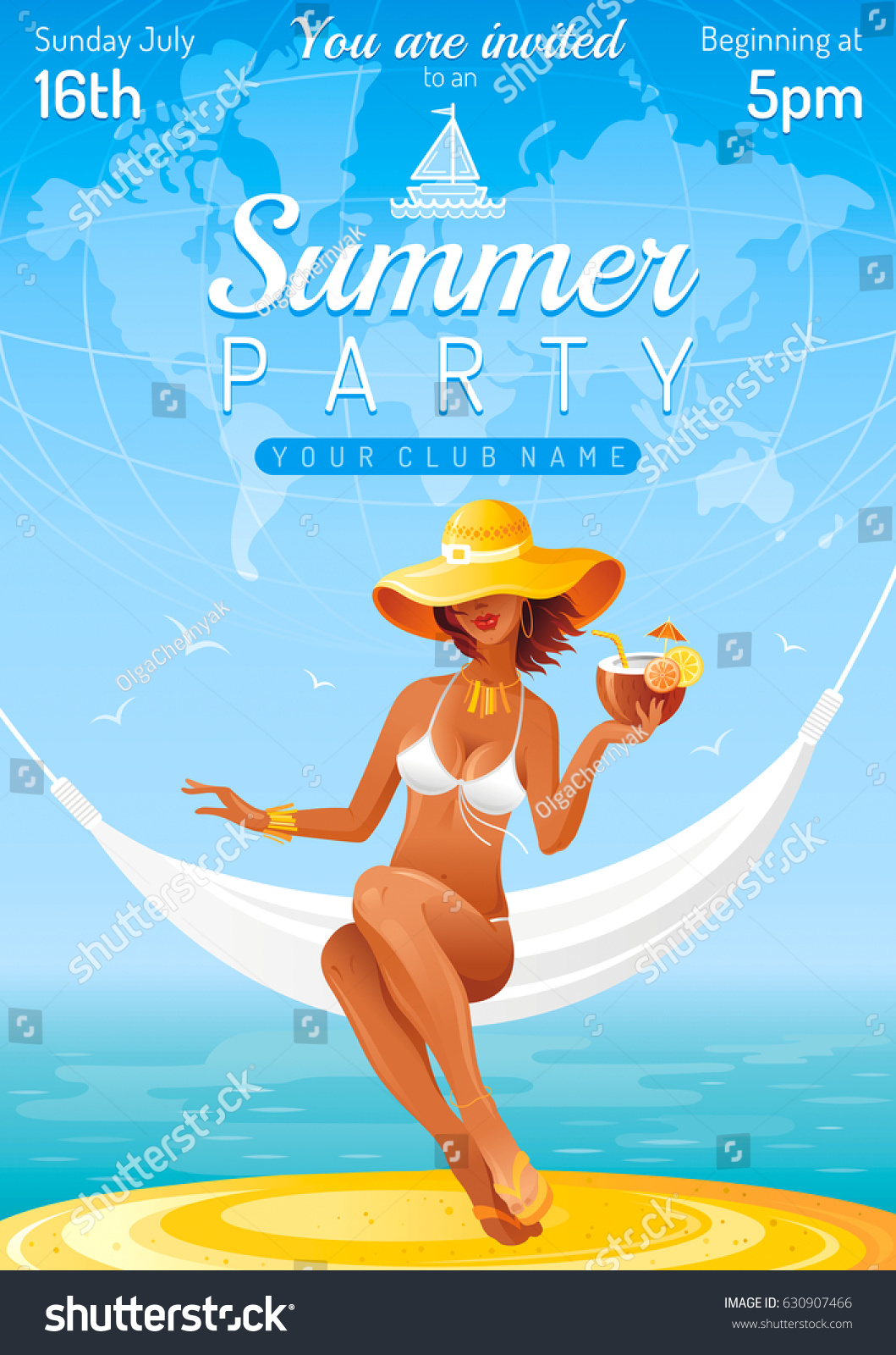 Poster design landscape - Summer Party Invitation Flyer Design Sea Beach Landscape Background Sexy Young Girl Travel