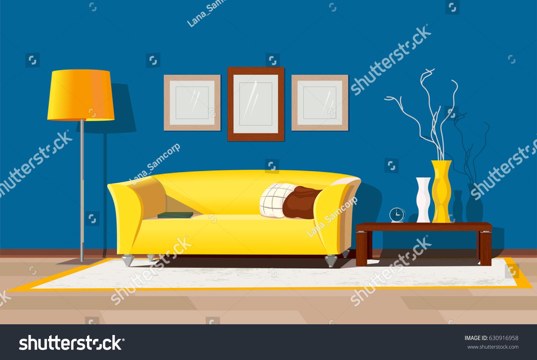 Living room design modern house interior freehand drawn cartoon style cozy elegant furniture