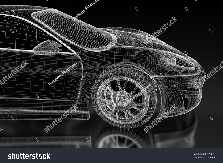 3d Sport Car Vehicle Blueprint Model Stock Illustration 630971822 ...