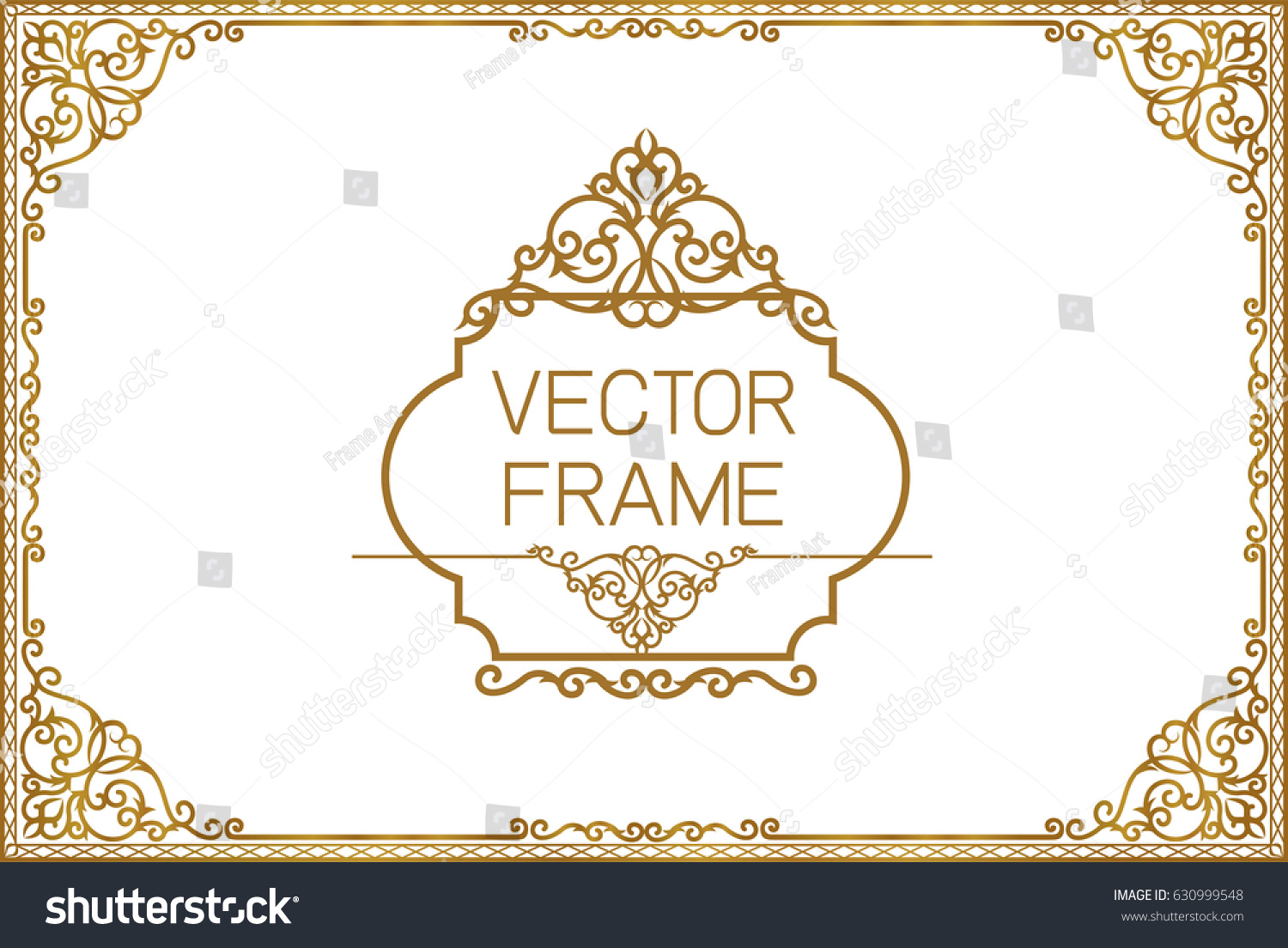 Gold border design frame photo template stock vector 630999548 gold border design frame photo template certificate template with luxury and modern pattern yadclub Image collections