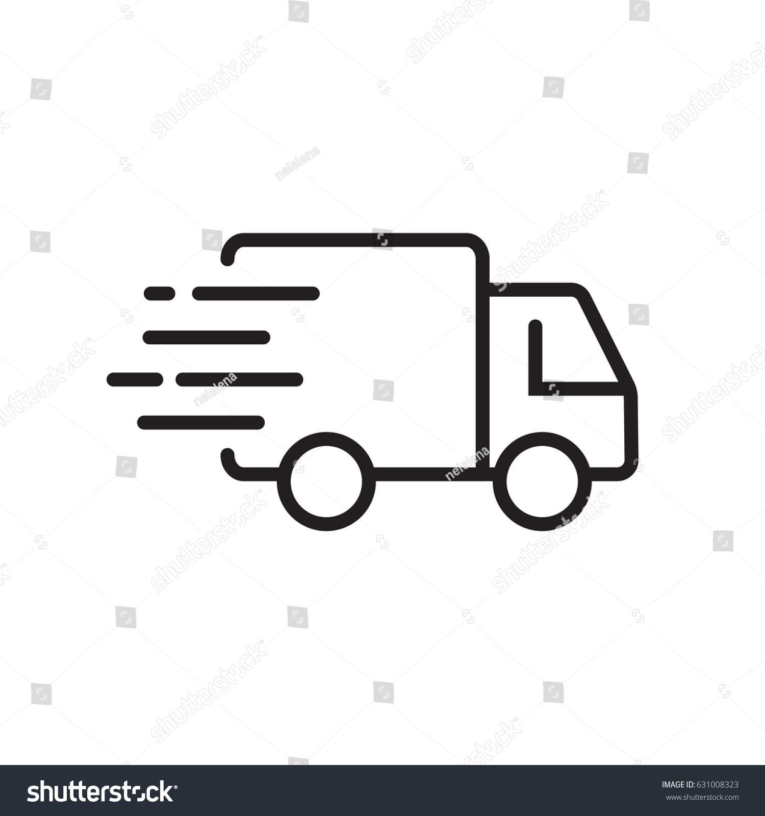 Fast shipping delivery truck line icon stock vector for Truck design app