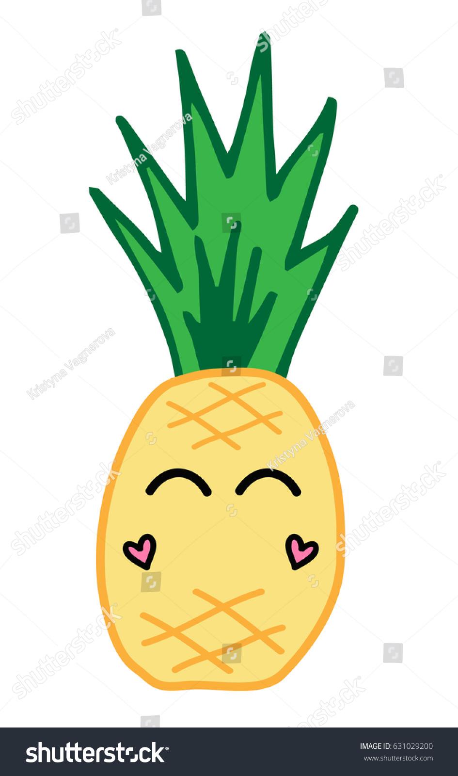 Cute Pineapple Fruit Face Eyes Cheeks Stock Vector Royalty Free