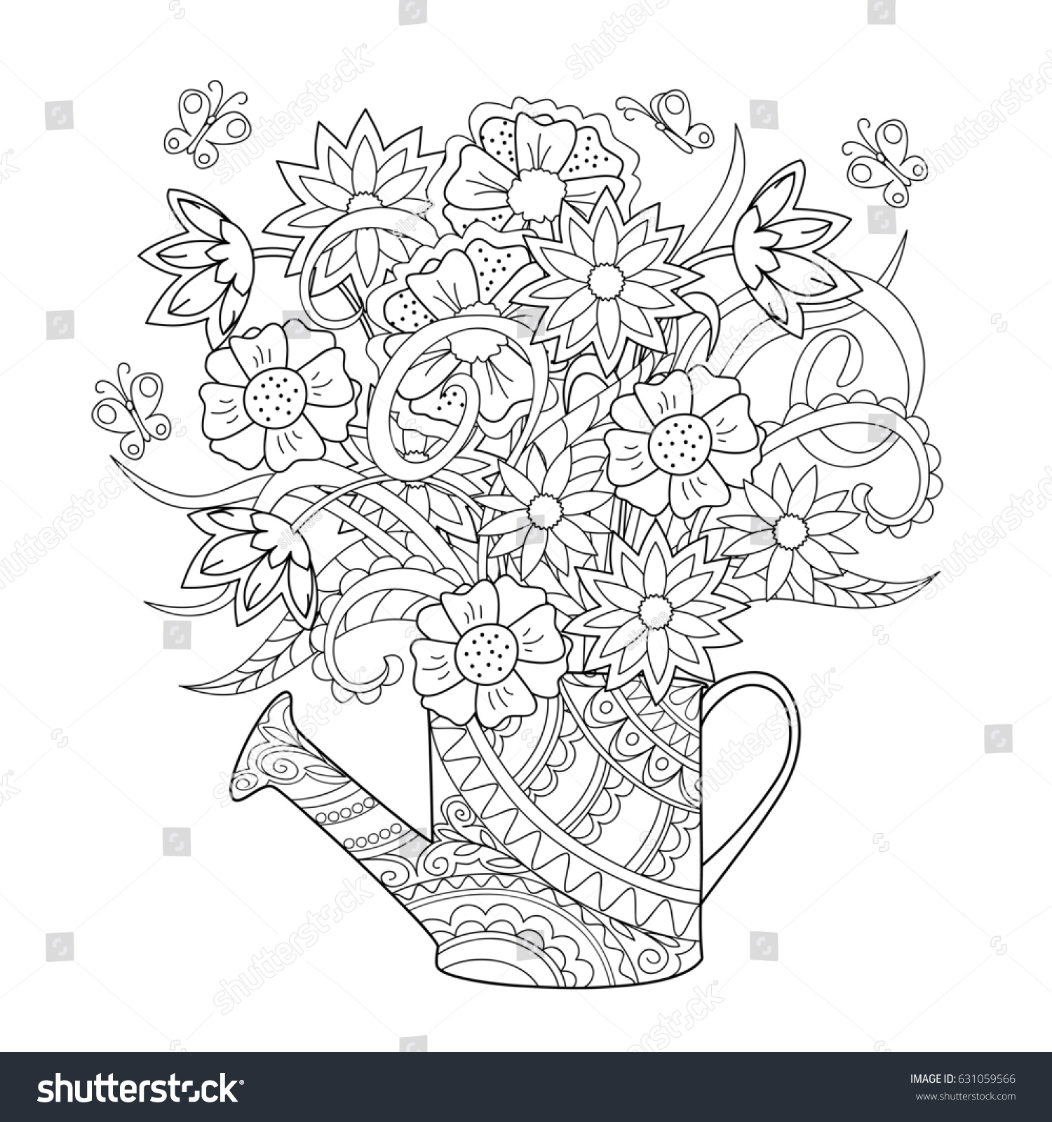 hand drawn decorated image watering can stock illustration