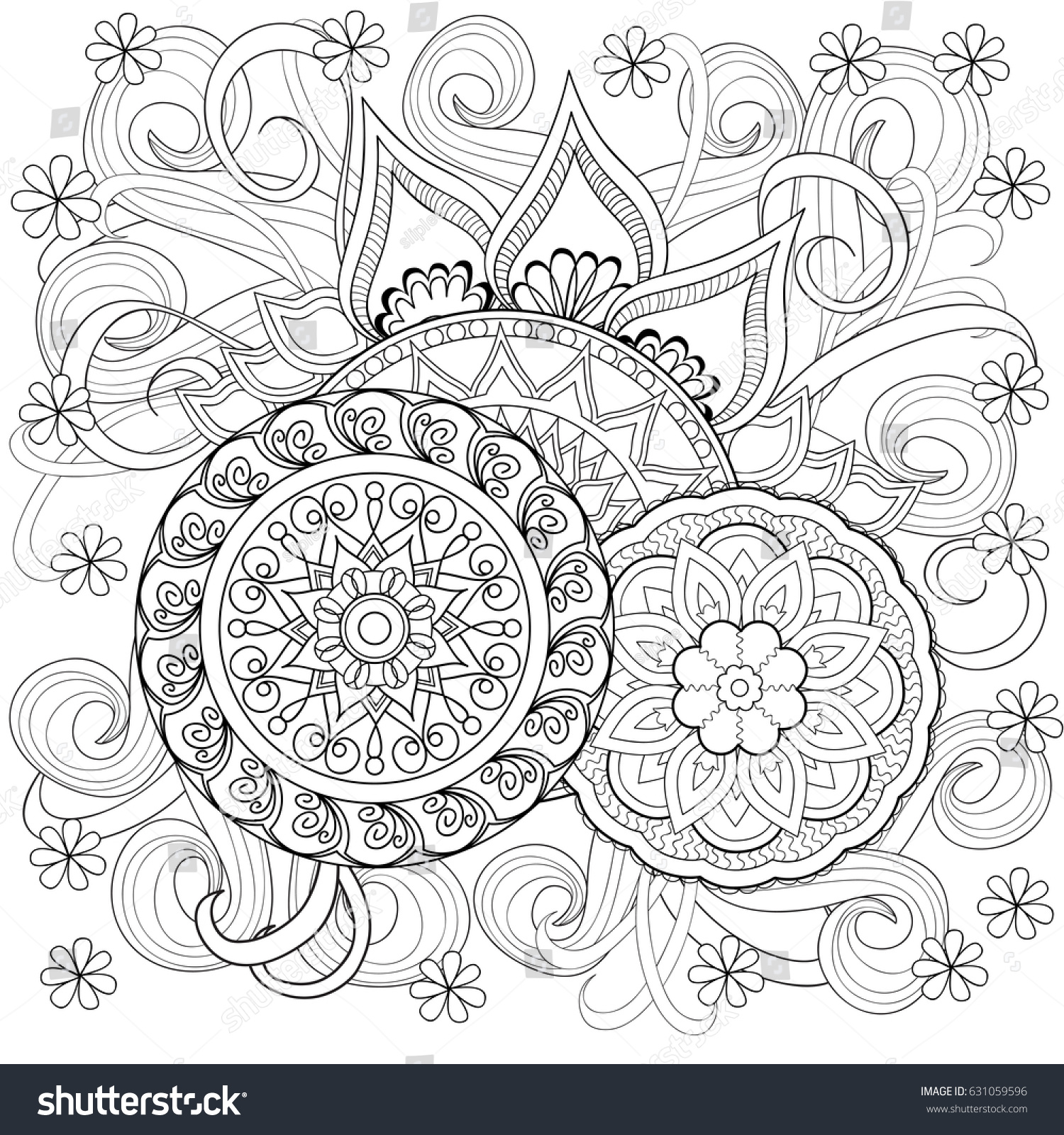 hand drawn decorated image doodle flowers stock illustration