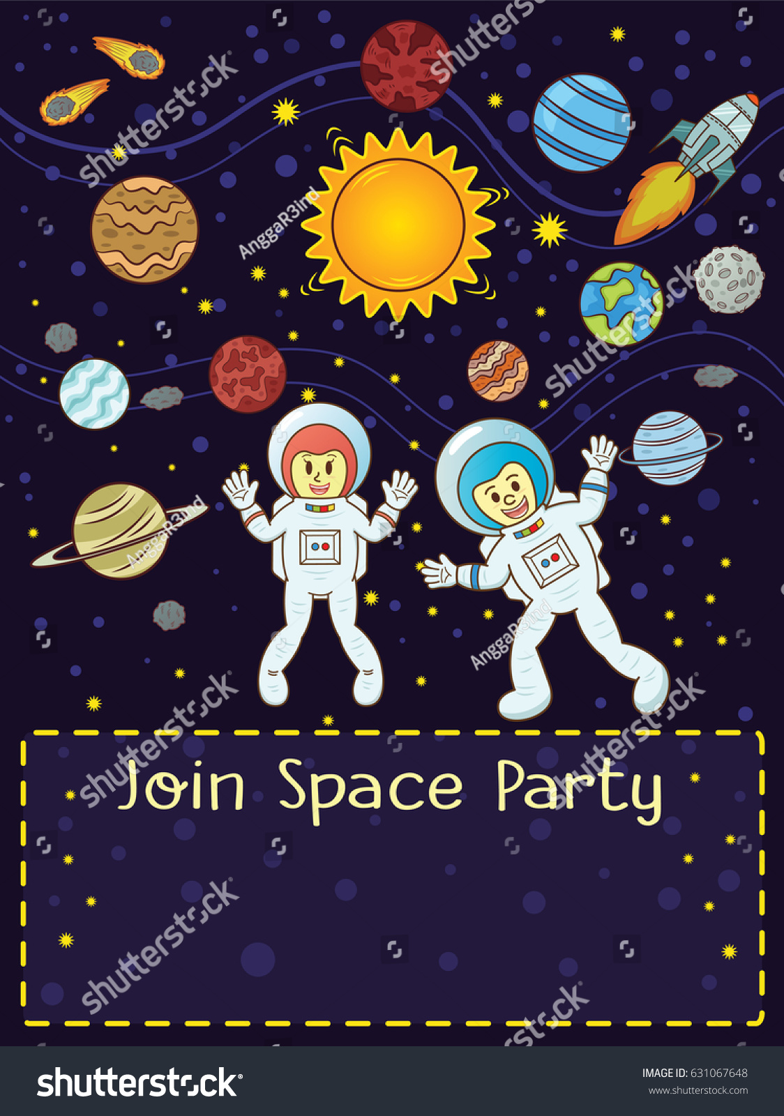 Space Party Invitation Card Astronauts Rocket Vector – Space Party Invitation