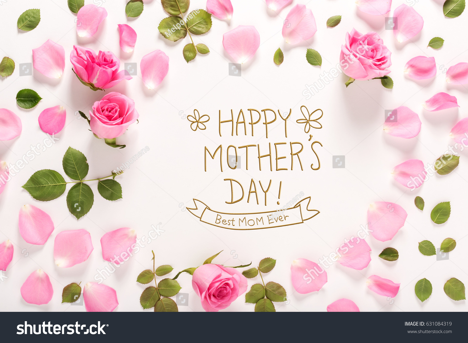 Happy Mothers Day Message Roses Leaves Stock Photo Image Royalty