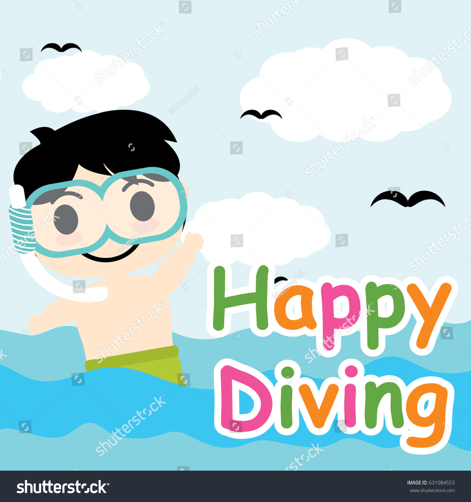 Cute Boy Diving On Sea Vector Stock Vector Royalty Free 631084553