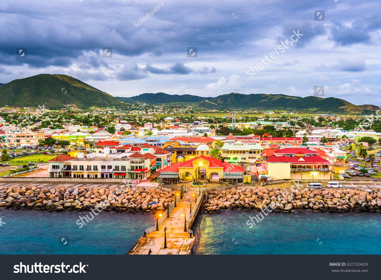Basseterre st kitts nevis town skyline stock photo for Port zante st kitts