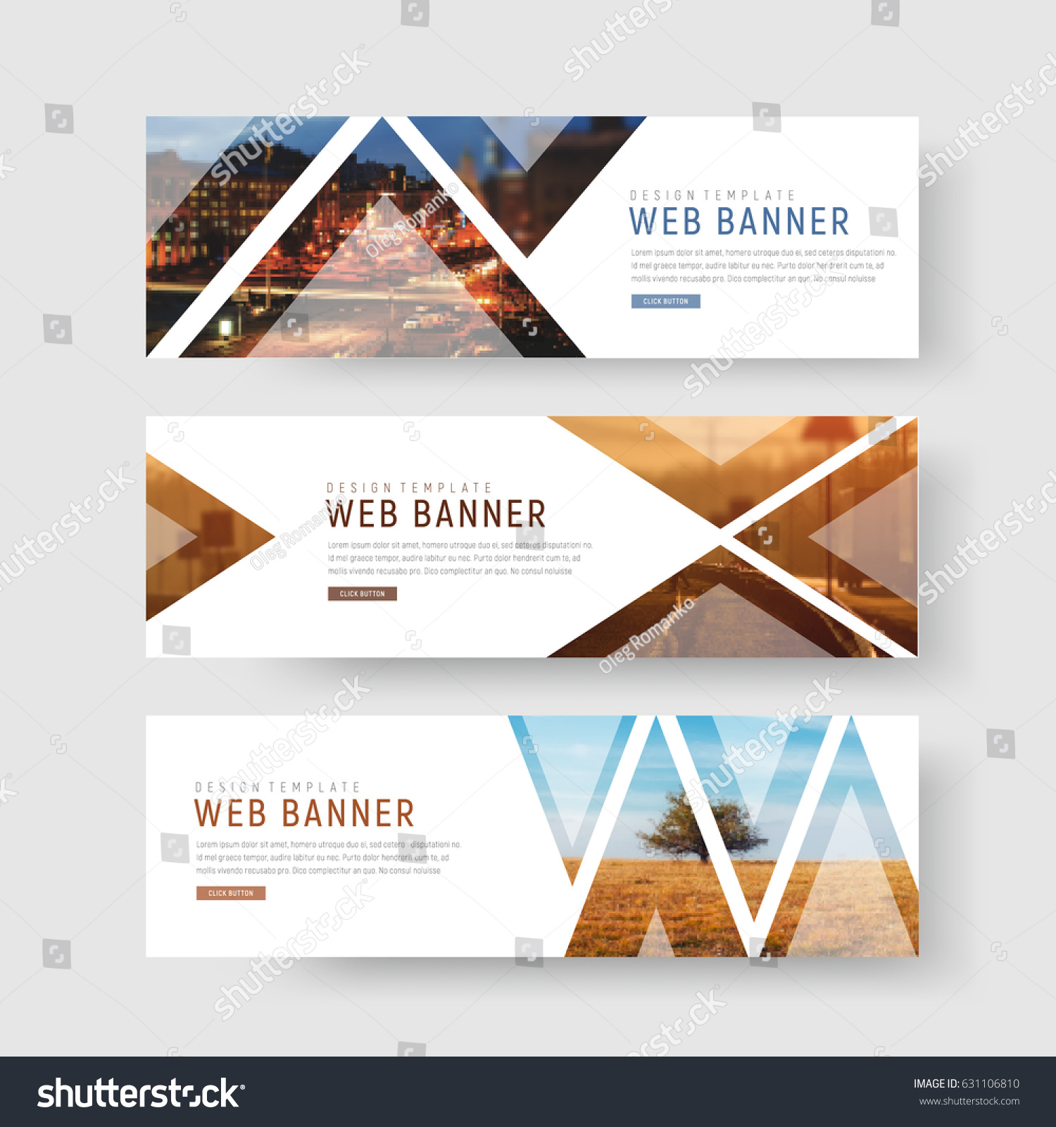 set of horizontal white banners with triangular shapes for a photo. Universal template for a web site with text, buttons and transparent elements. Photo of a mosaic for a sample. #631106810