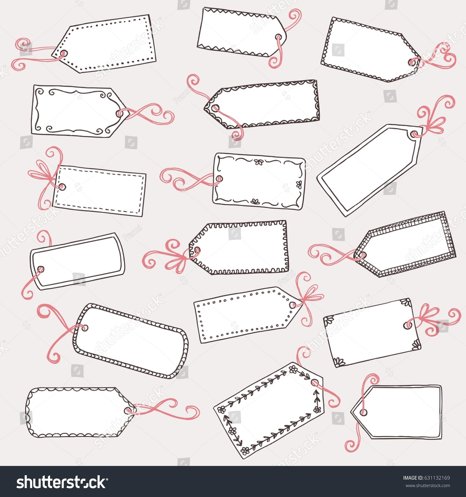 hand drawn cute gift labels price stock vector royalty free