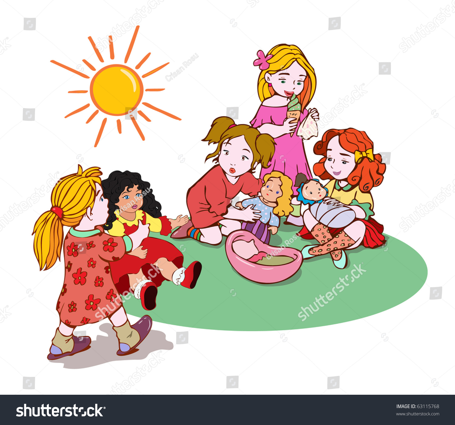 Adorable Little Girl Playing With Beach Toys During: Vector Illustration Cute Little Girls Playing Stock Vector