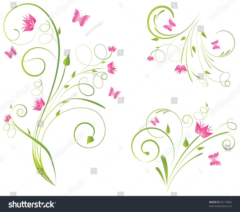 Floral Designs Pink Flowers Butterflies Stock Vector
