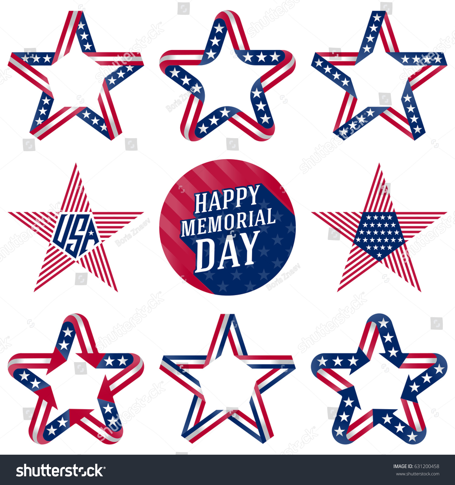 Happy Memorial Day Design Elements Stars Stock Vector Royalty Free