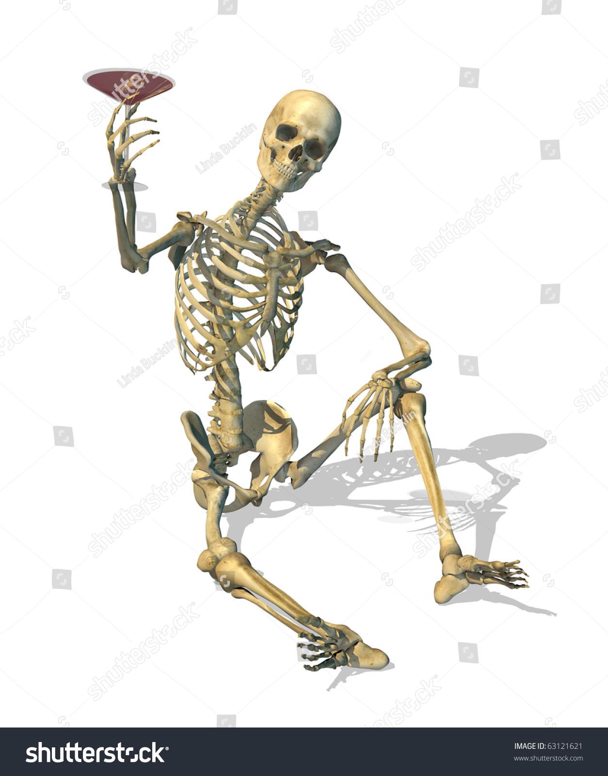 Skeleton Enjoys Blood Martini 3 D Render Stock Illustration 63121621